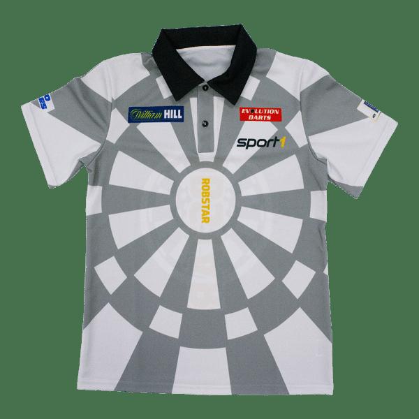 """Robert """"Robstar"""" Marijanovic DARTS WM Shirt 2018/2019 - grau/weiß"""