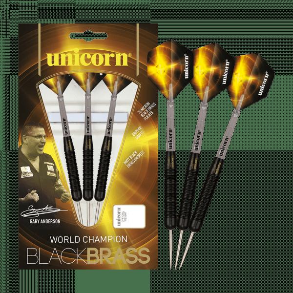 Unicorn Black Brass Gary Anderson Steeldarts - 23g